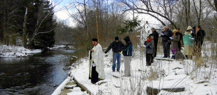 The Outdoor Water Blessing for Theophany at Little Lehigh Creek in Emmaus